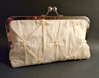 Bridal Clutch Ivory  or White Taffeta