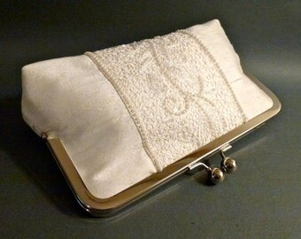 Bridal Clutch Couture Ivory French Lace Silk with Hand sewn Pearl trim Vertical