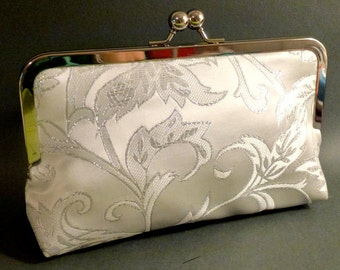 Bridal Clutch Silver and Ivory Brocade Holiday New Years Christmas