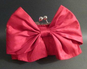 Bridesmaid Clutch or Bridal Clutch Red Dupioni Silk Bow Clutch
