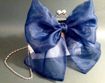 Flower Girl Clutch with Large Organza Bow Clutch in Silk Dupioni CUSTOMIZE