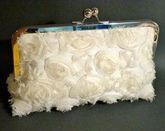 Bridal Clutch Ivory Soft Chiffon Rosettes in Light Ivory