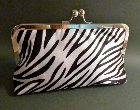 Bridesmaid Clutch Zebra Satin Evening Special Event Bag Holiday New Years Eve Christmas Black Tie
