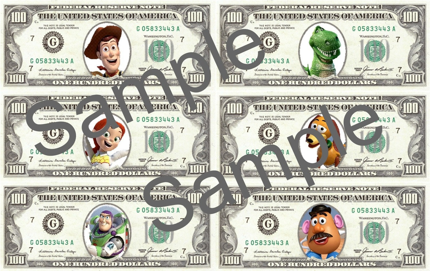 Printable Toy Money : Toy story play money digital file print your own