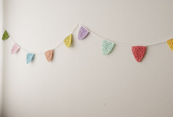 Bunting, garland, flags in pastels - crocheted
