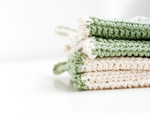 Eco cotton dish cloths. Green and white. Set of two. Eco friendly.