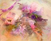 Necklace Beautiful Artisic textiles SECRET GARDEN with Peony and Roses and...