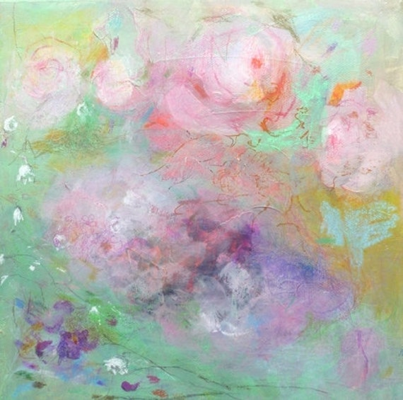 Reserved for Marie PEONIES Original Abstract Painting on stretched Canvas,