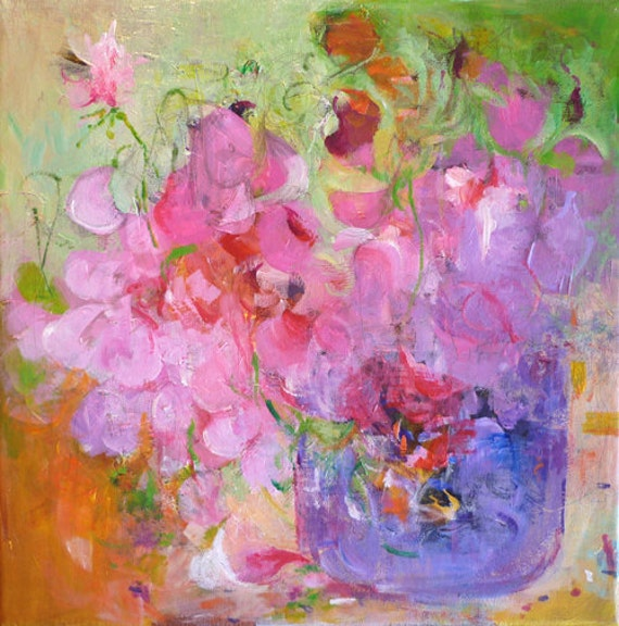 SWEET PEAS in a Japanese Vase Original Abstract Painting on canvas
