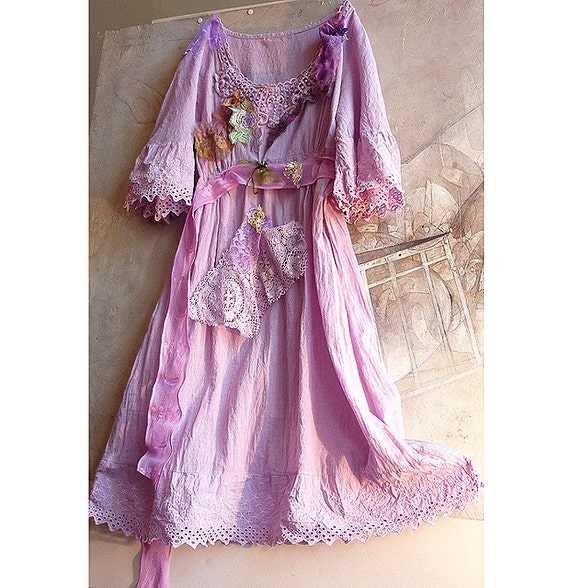 Romantic and very Feminine Beautiful Cotton  Dress Rustic Boho Country Hippi Vintage Lace Lilak Lavender