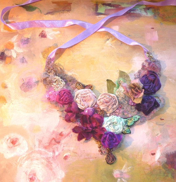 Reserved for Glenda Necklace  Hand Beaded Beautiful Artisic Textiles from Silk Lace  Beads Purple Violet  GREEN Pink Roses