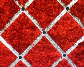 Red Furry Fabric Photo Memory Board