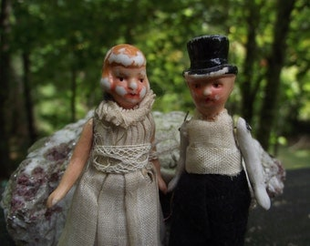 Tiny Antique Bride & Groom Wedding Cake Topper Bisque Porcelain Doll pair Measure just under 3 1/2 inches tall.  All Original