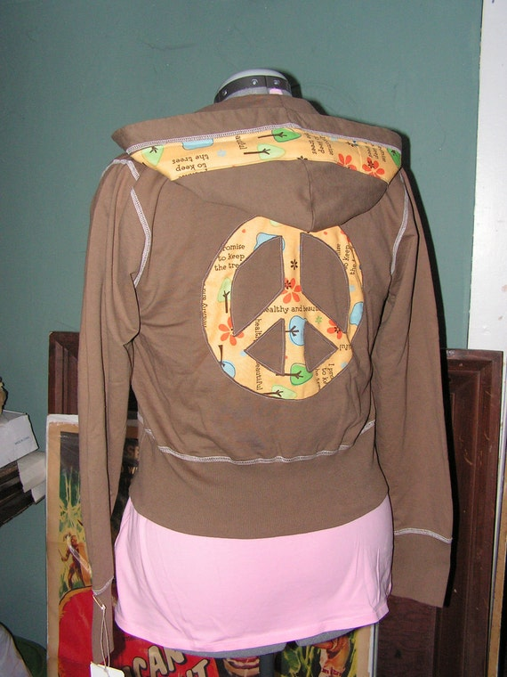 SALE new upcycled eco-friendly Kupono yoga sweatshirt hoodie zip up brown hippie peace patchwork small