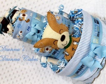 Puppy Dog Baby Diaper Cake Boys Shower Gift Centerpiece with Shoes Rattle and more