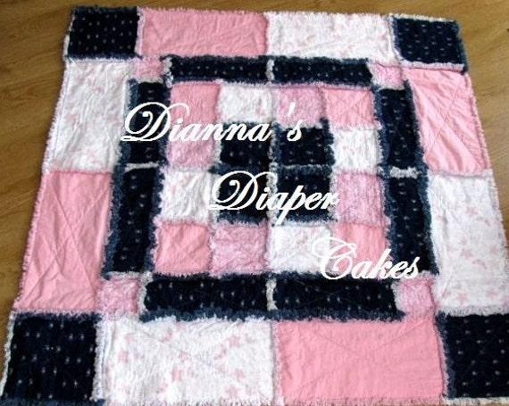 """Rag Quilt Blanket Pink and Denim Girls 48""""x48"""""""