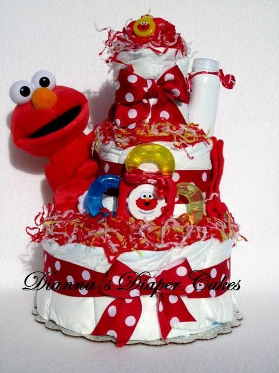 elmo baby diaper cake or shower centerpiece girls boys gift