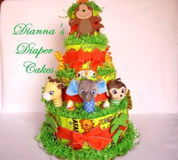 Baby Diaper Cake Zoo Animals Jungle Safari Boys Girls Neutral