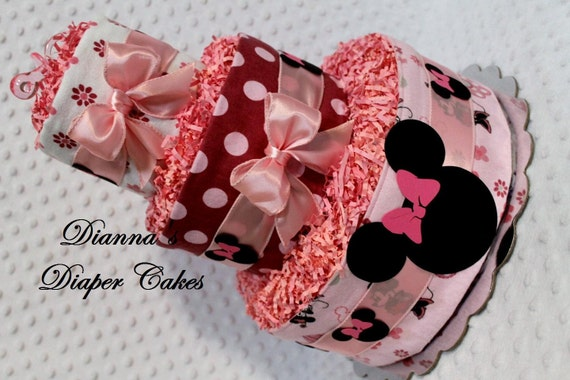 Baby Diaper Cake Minnie Mouse Shower Gift or Centerpiece
