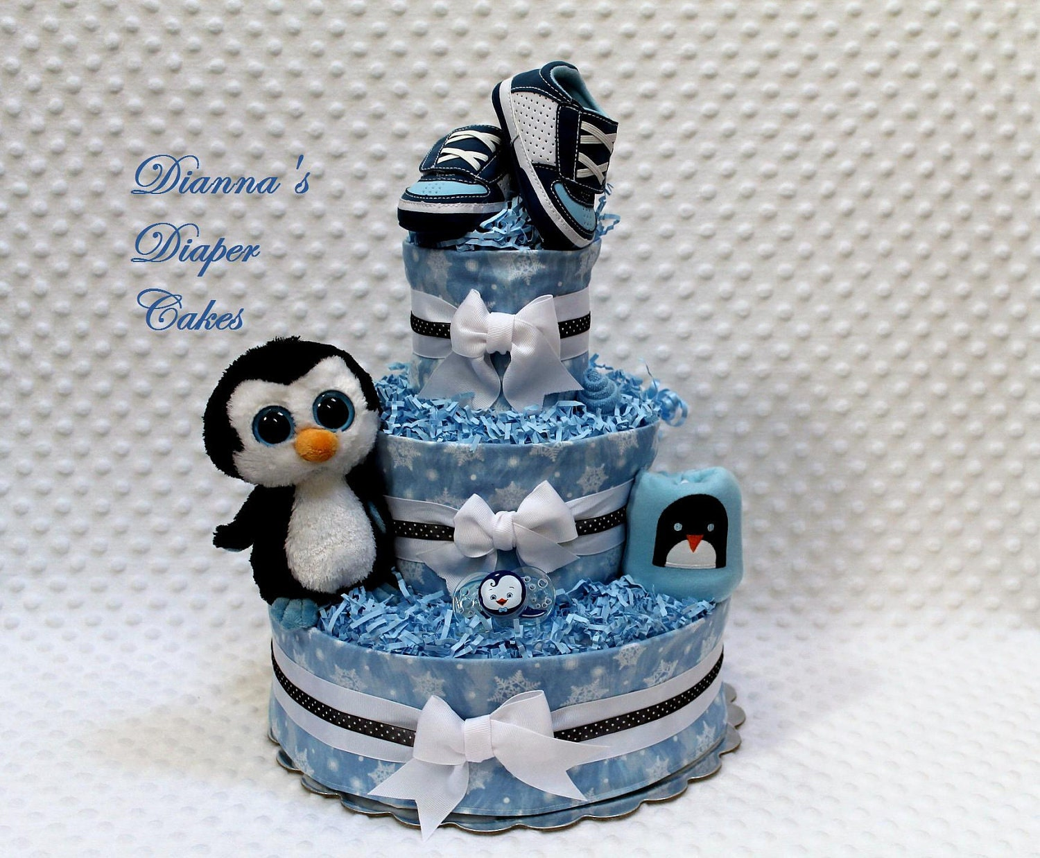 Baby Diaper Cake Penguin Shower Gift Centerpiece Newborn