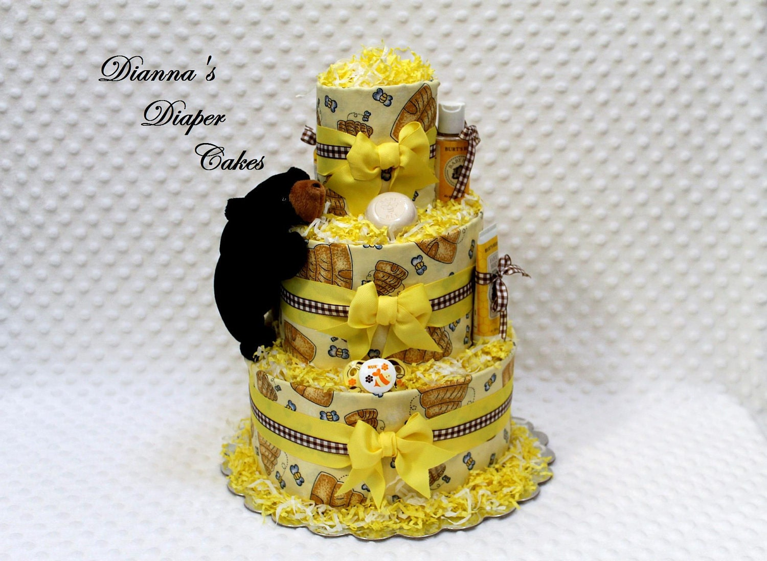 Cloth Baby Diaper Cake Bear And Bees Shower Gift Newborn