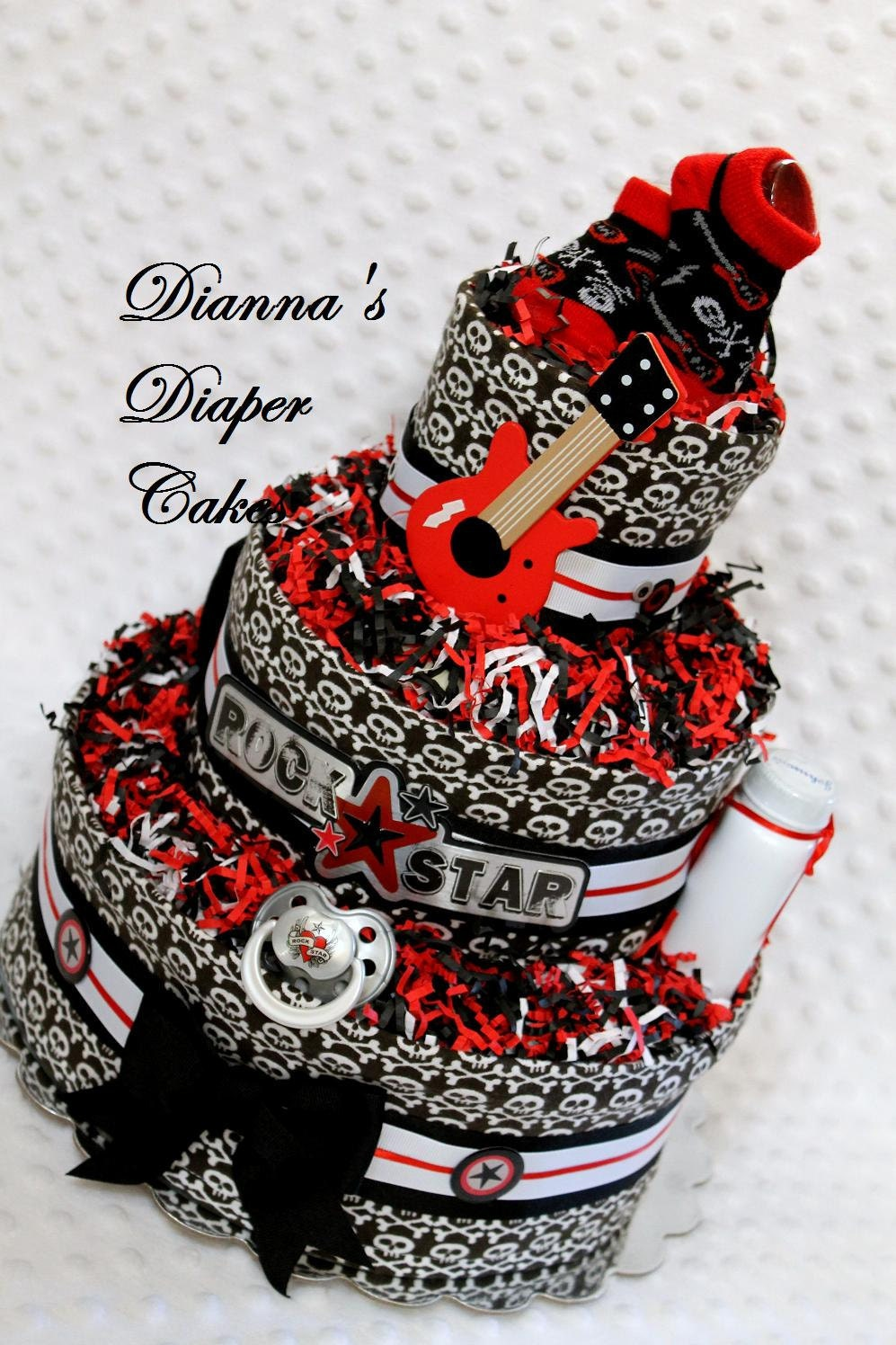Baby Diaper Cake Rock Star Shower Gift Or Centerpiece Ready
