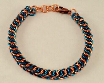 Chainmaille Friendship Bracelet (Blue & Copper )