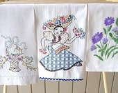 REDUCED  Vintage Tea Towels, 3 Assorted Tea Towels, All Cotton, Beautiful Embroidery