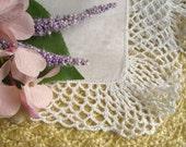 VINTAGE WEDDING HANKIE, Bridal Hankie, Wedding White Irish Linen, Deep Crocheted Edge