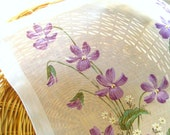 VINTAGE HANKIE, Hand Painted Purple Violets, White Eqyptian Cotton, Woven Border, Made in Switzerland, Original Tags