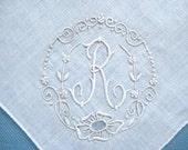 Vintage Monogram Hankie, Initial R, Linen, White on White Embroidery, Elegant