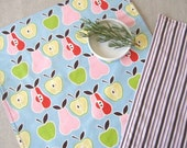 PLACEMATS, Large Square, Reversible, Pink & Red Pears and Green Apples on Pretty Blue Background, Matching Pink and Brown Stripe on Reverse