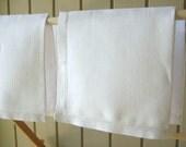 Vintage Linen Napkins, 4 Count, Luncheon Size, Off White, Wide Hem Stitch Border, Excellent Condition