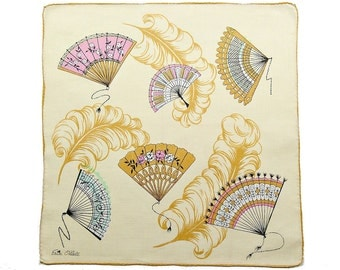 VINTAGE DESIGNER HANKIE, Erin O'Dell, 1950s, Mid-Century, Fans, Feathers, Pink, Aqua, Gold, Tan Field, Rolled Hem, Fun, Excellent Condition