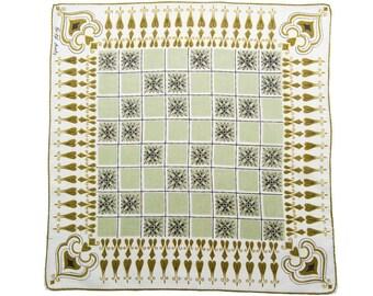 VINTAGE DESIGNER HANKIE, Faith Austin, 1950s, Mid-Century, Geometric Design, Checkerboard, Figurative, Grey Green, Gold, Excellent Condition
