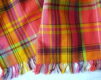 Summer Scarf Bright Multi Plaid, Light Weight Cotton, Yarn Dyed, Fringed, 6 feet, Casual, Well Made, Perfect Summer Accessory