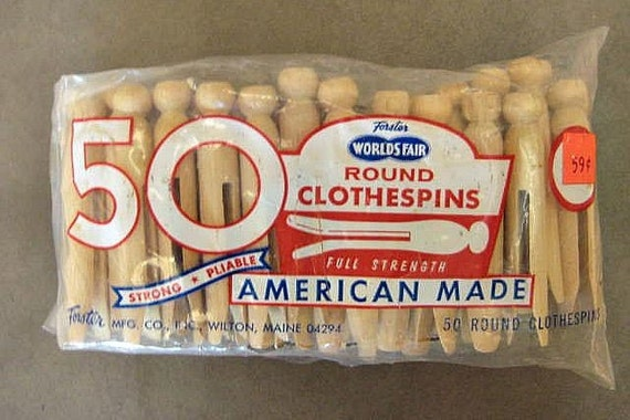 Vintage Forster Round Wooden Clothes Pins, 50 Count, Unopened, Forster World's Fair Brand, Made in America