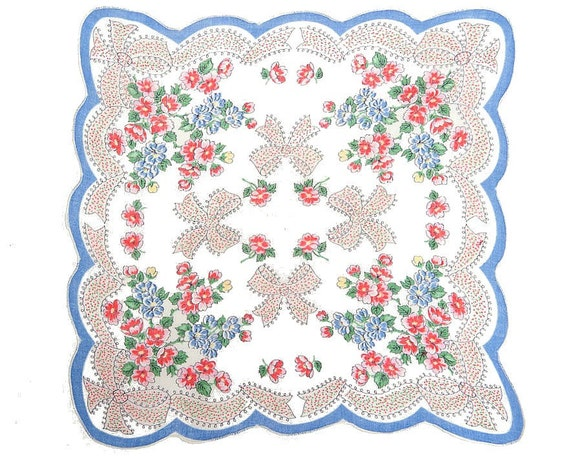 VINTAGE HANKIE, Ribbons & Bows Border, Red, Blue, Yellow Flowers, Scalloped Blue Edge, One of our Prettiest Hankies, 1950s