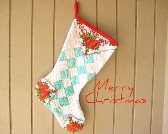 Christmas Stocking, Vintage Irish Chain Quilt, Vintage Poinsettia Hankie, Red Buttons, Turquoise, Aqua, White, Handmade, Recycled,
