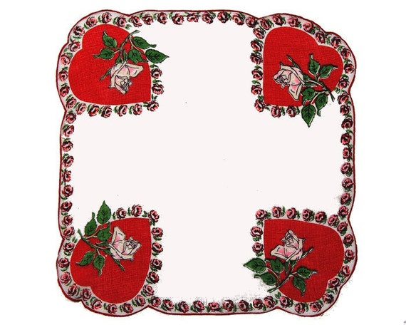 VINTAGE VALENTINE HANKIE, Large Red Heart in Each Corner with Pink Rose, Rose Border, Unusual Shape, Excellent Condition