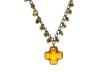 Topaz Cross on Brass Chain with matching earrings