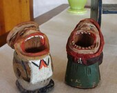 Two Vintage Ugly Little Folk Art Carved Wood People Toothpick Holder Qtips Matches