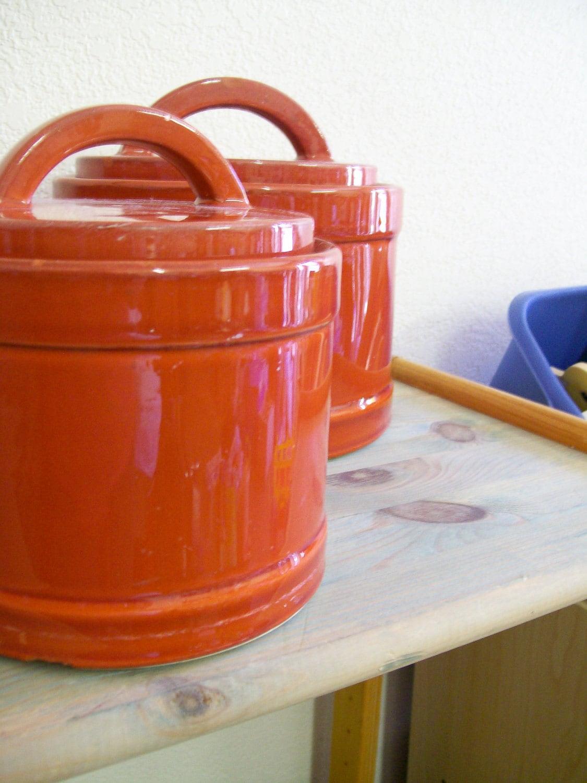 Set of 4 mid century modern burnt orange kitchen by luvredford for Kitchen set orange