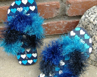 ON SALE, Blue Bedroom Slippers, Casual Sandals, Fluffy Flip Flops, 3-4 XS Flip Flops in Blue with Hearts for Bed or Beach pool Shoes