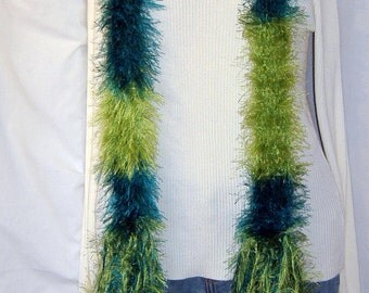 SALE Green Boa, Fluffy SCARF, Extra Long Boa, Unique Gift Mens/Womens, Turquoise/Green/Irish boa,Boho Scarf boa, Irish Green, Made in USA