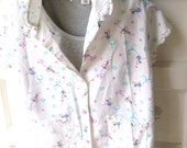 Vintage White Cotton Cropped Capri Jammies  Garden Fairies Loungewear PJs Pajama Set size medium