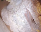 Vintage Edwardian Style Wedding Dress /Victorian/Western Romance /Renaissance/White Satin Lace Pearls Beads Sequins  Size 14