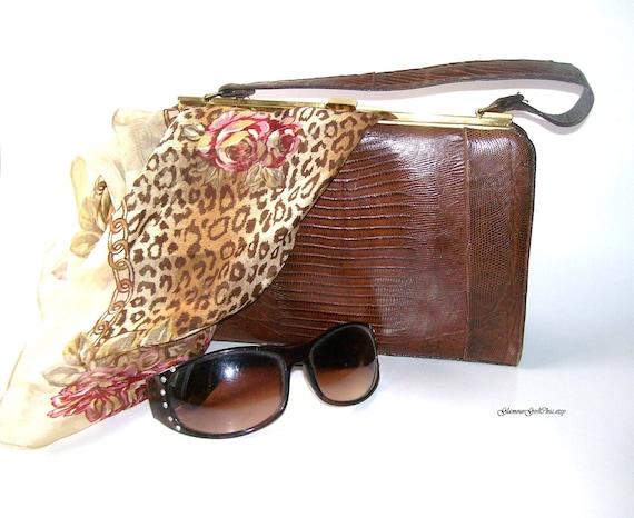 Vintage 1950s 50s REPTILE Handbag Purse Mad Men Style