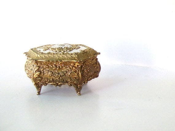 Vintage  Ornate Jewelry Casket Trinket Box Art NouVeau French Shabby Victorian MAde in Japan