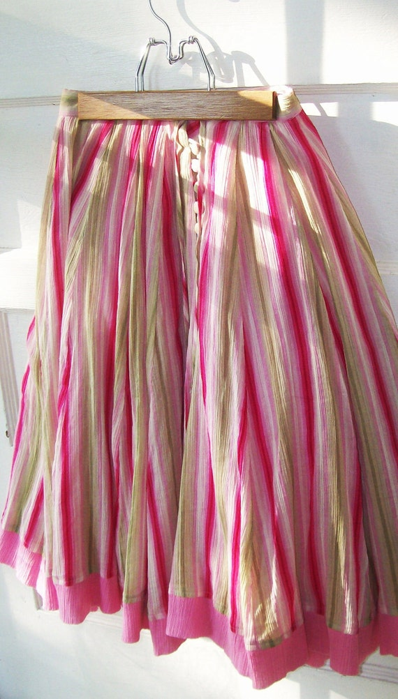 RESERVED FOR JANE   VIntage Circle SKirt. Cotton Candy Pink. Boho Gypsy. Twirl Lollipop colors Pinks Greens